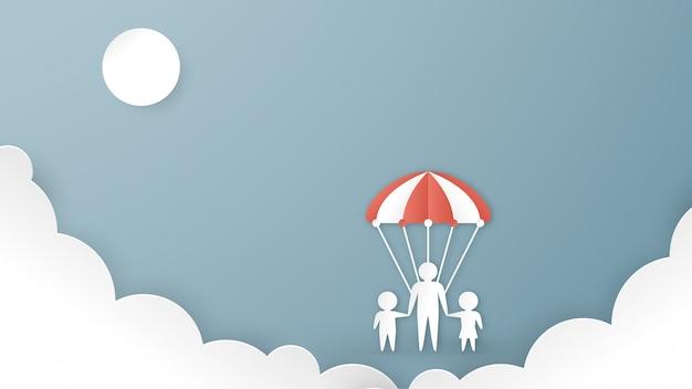 Illustrazione nel concetto di progettazione di assicurazione sanitaria su sfondo blu pastello Vettore Premium