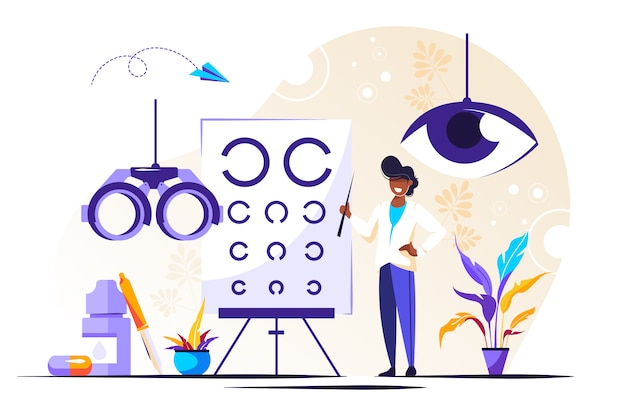 Illustrazione oftalmologica. occhi piccoli salute persone Vettore Premium