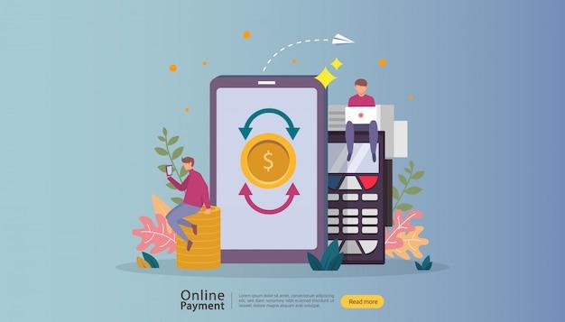 Illustrazione online di compera del mercato di commercio elettronico con il carattere minuscolo della gente. Vettore Premium