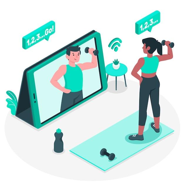Illustrazione online di concetto dell'istruttore personale Vettore gratuito