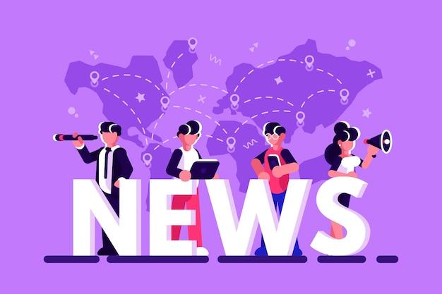 Illustrazione online di vettore di concetto di ultime notizie. uomini d'affari, donne d'affari con megafono, telescopio sono in piedi vicino a grandi lettere, usando i loro smartphone e laptop per leggere le notizie. piatto Vettore Premium