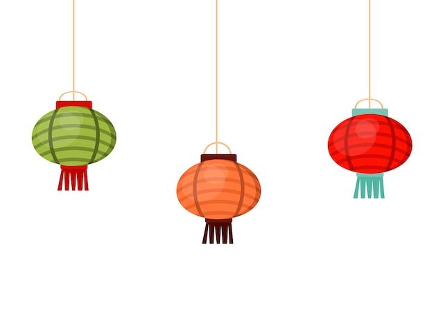 Illustrazione orientale della decorazione dell'asia di celebrazione tradizionale di festival della cultura cinese della lanterna cinese Vettore Premium