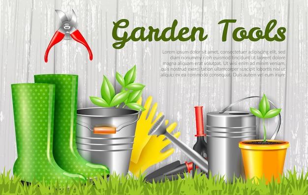 Illustrazione orizzontale degli strumenti di giardino realistici Vettore gratuito