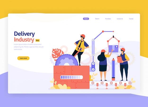 Illustrazione per articoli di deposito di magazzino di consegna e trasporto di transito Vettore Premium