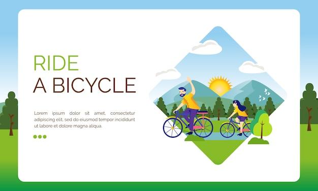 Illustrazione per la pagina di destinazione, andiamo in bicicletta Vettore Premium