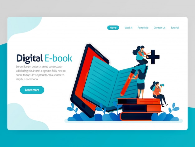Illustrazione per la pagina di destinazione degli ebook digitali. app mobili per leggere, scrivere, studiare. piattaforma di biblioteca moderna. apprendimento online, educazione linguistica. Vettore Premium