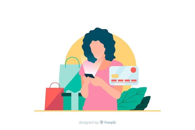 Illustrazione per landing page con il concetto di shopping online Vettore gratuito