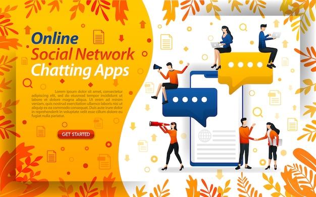 Illustrazione per le app di chat di social network online con carattere piatto Vettore Premium