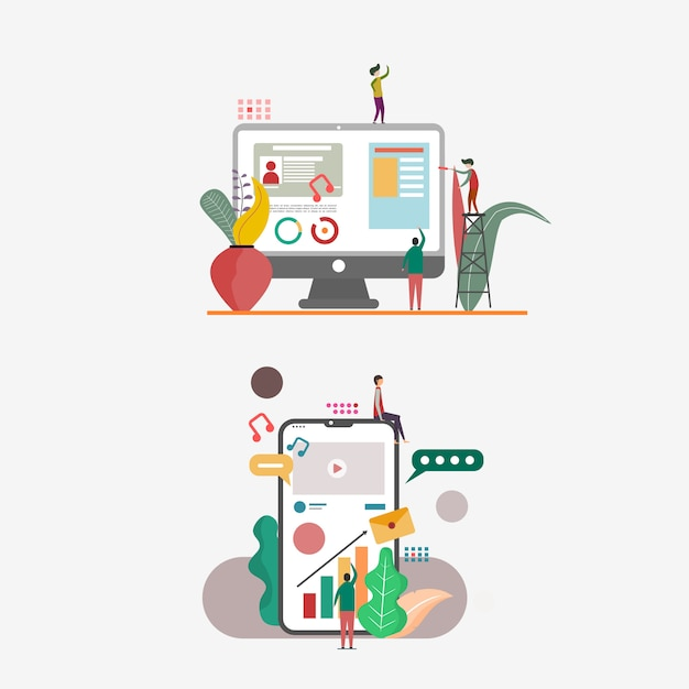Illustrazione per siti web e pagina di destinazione Vettore Premium