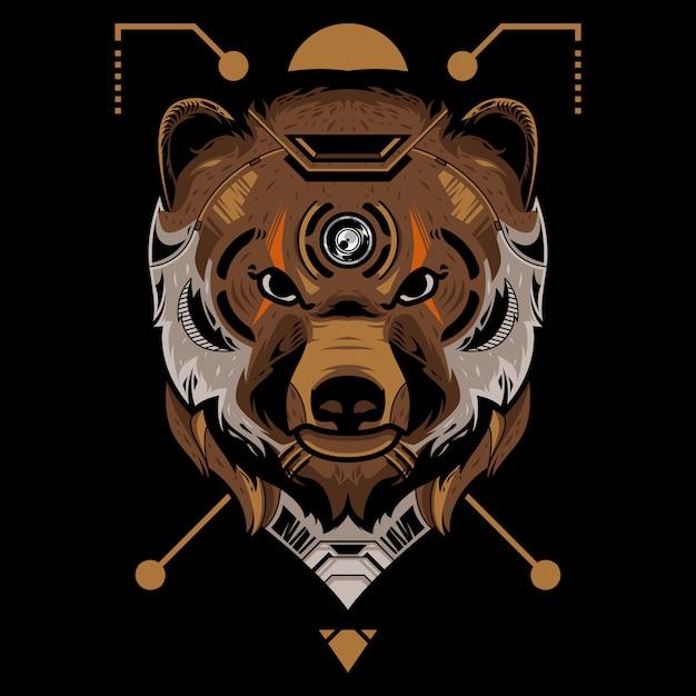 Illustrazione perfetta di vettore della testa dell'orso nel fondo nero Vettore Premium