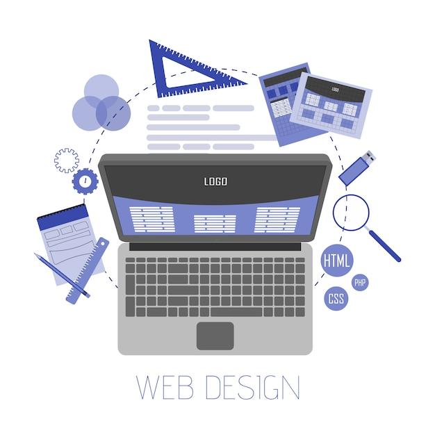 Illustrazione piana astratta di web design e sviluppo Vettore Premium