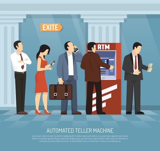 Illustrazione piana dei soldi di bancomat Vettore gratuito