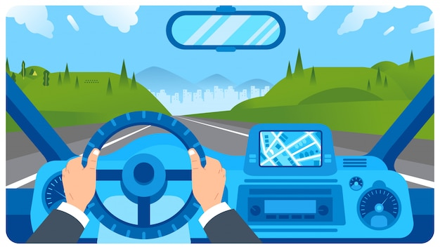Illustrazione piana del cruscotto dell'automobile con la mano del conducente sul volante Vettore Premium