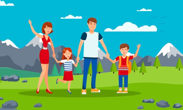 Illustrazione piana del fumetto di vettore di turismo della famiglia Vettore Premium