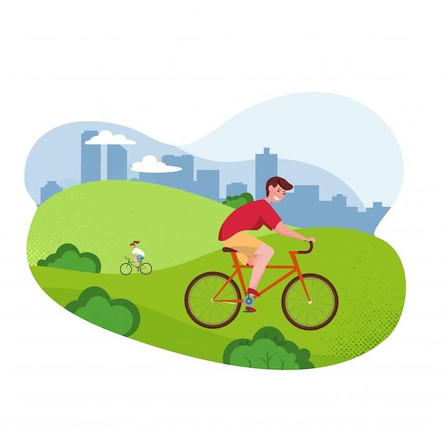 Illustrazione piana del fumetto di vettore - uomo di guida della bicicletta. parco, alberi e colline Vettore Premium