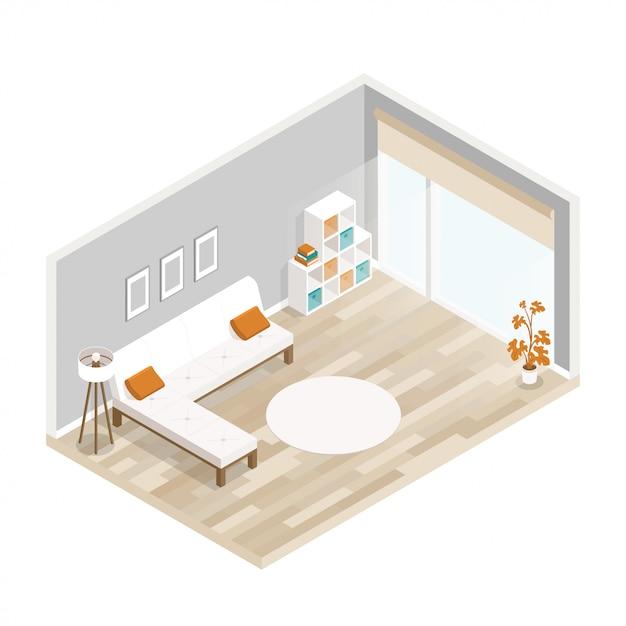 Illustrazione piana del hotel della città con la mobilia del salone Vettore Premium