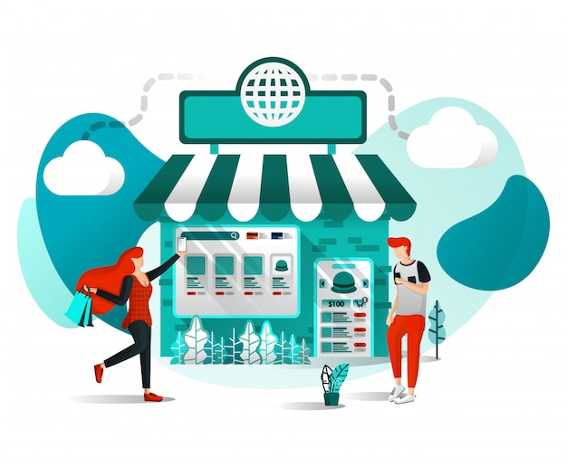 Illustrazione piana del negozio online o del mercato Vettore Premium