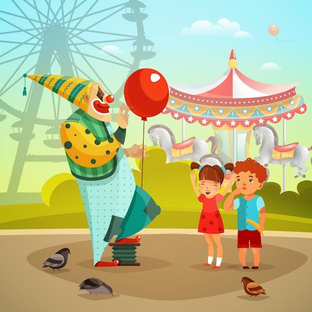 Illustrazione piana del pagliaccio di circo del parco di divertimenti Vettore gratuito