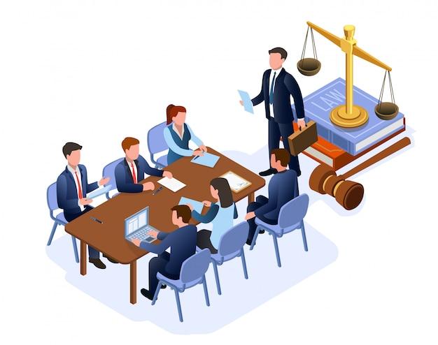 Illustrazione piana dell'illustrazione di vettore dei consiglieri legali. Vettore Premium