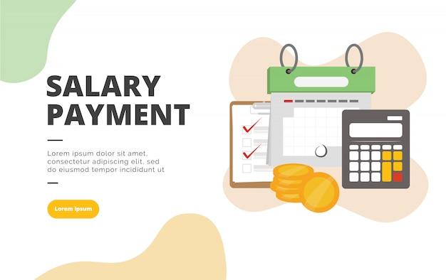 Illustrazione piana della bandiera di progettazione di pagamento di stipendio Vettore Premium