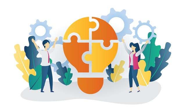 Illustrazione piana di idea di configurazione di concetto di affari Vettore Premium