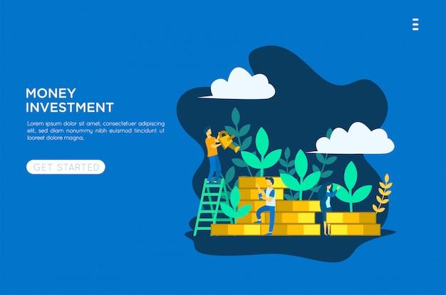 Illustrazione piana di investimento di soldi Vettore Premium