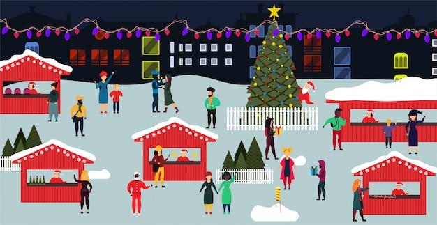 Illustrazione piana di natale di vacanza invernale della gente del mercato di natale. Vettore Premium