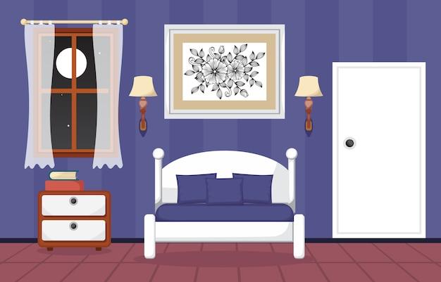 Illustrazione piana di progettazione della camera da letto interna ...