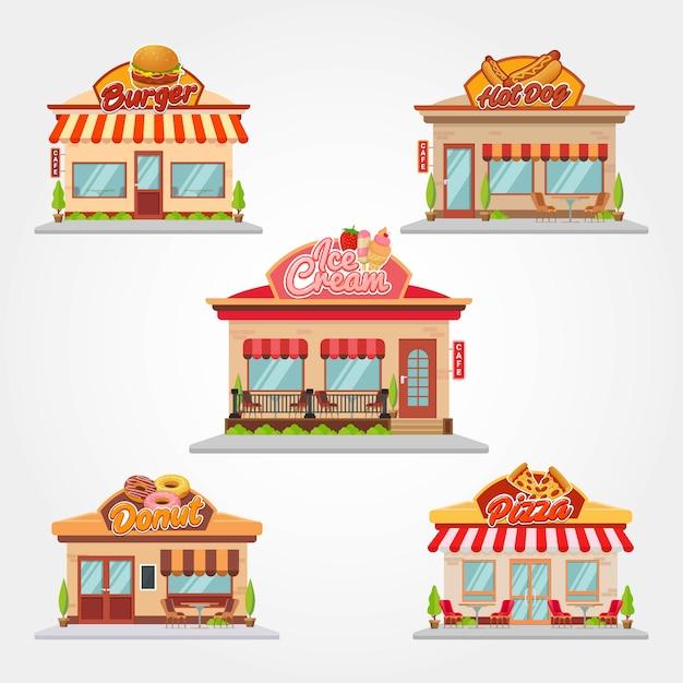 Illustrazione piana di progettazione di vettore della costruzione del negozio e del ristorante del caffè Vettore Premium