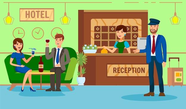 Illustrazione piana di ricezione dell'hotel dell'amministratore Vettore Premium