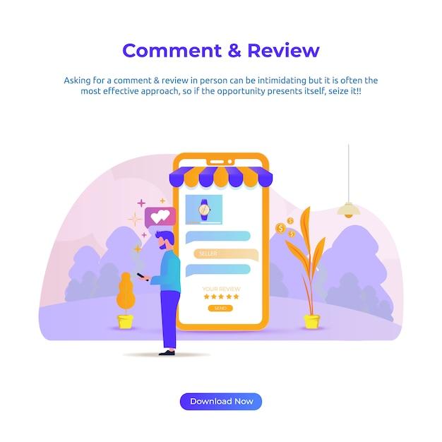 Illustrazione piana di una revisione e un commento dell'uomo per il deposito online Vettore Premium