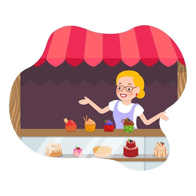 Illustrazione piana di vettore del deposito dei muffin e dei dolci Vettore Premium