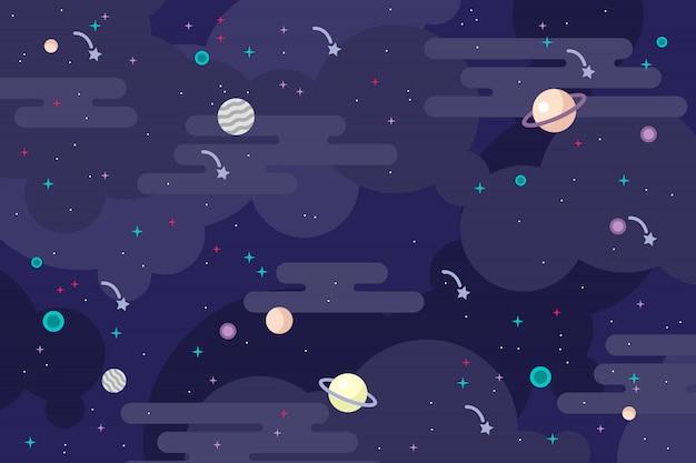 Illustrazione piana di vettore del fondo della galassia Vettore Premium