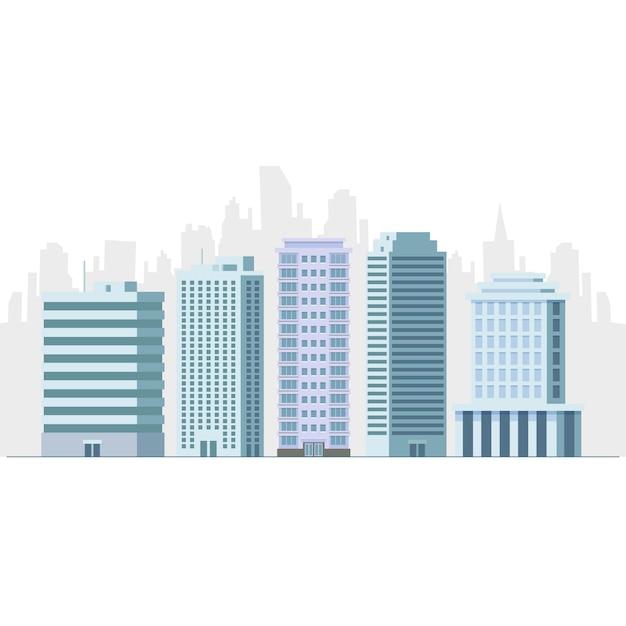 Illustrazione piana di vettore del grattacielo della costruzione dell'hotel e dell'ufficio Vettore Premium