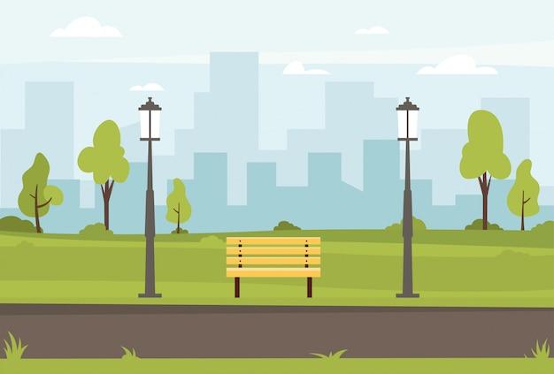 Illustrazione piana di vettore del parco pubblico Vettore Premium