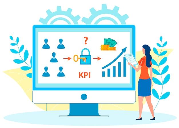 Illustrazione piana di vettore di analisi di kpi dei dipendenti Vettore Premium