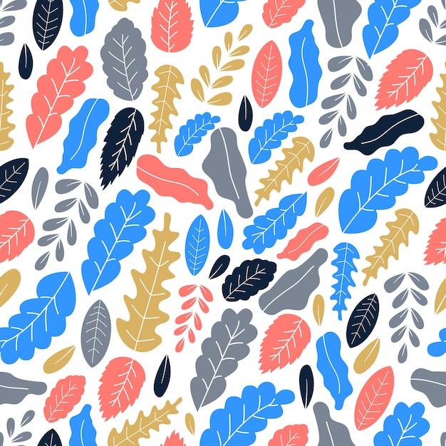 Illustrazione piana di vettore di art leaves seamless pattern Vettore Premium