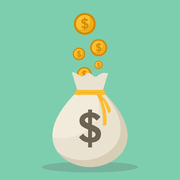 Illustrazione piana di vettore di progettazione delle monete e delle borse dei soldi Vettore Premium