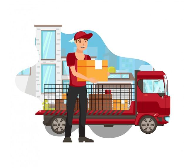 Illustrazione piana di vettore di servizio di distribuzione del camion Vettore Premium