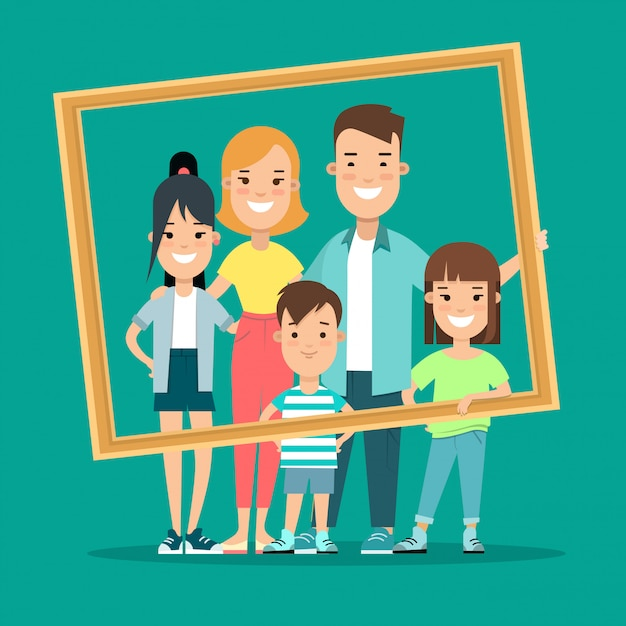 Illustrazione piana di vettore di stile del ritratto incorniciato famiglia felice. Vettore gratuito