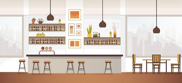 Illustrazione piana interna vuota di vettore del bar o del pub Vettore Premium