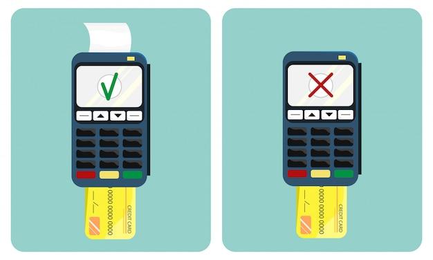 Illustrazione piatta del terminale di pagamento e carta di credito Vettore Premium