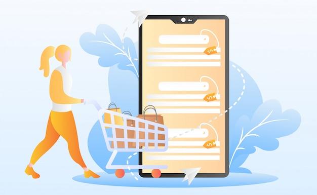 Illustrazione piatta dello shopping online Vettore Premium