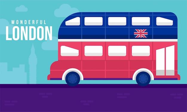 Illustrazione piatta di autobus di londra Vettore Premium