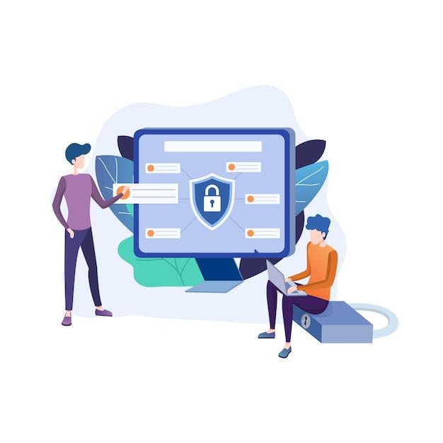 Illustrazione piatta di protezione dei dati Vettore Premium