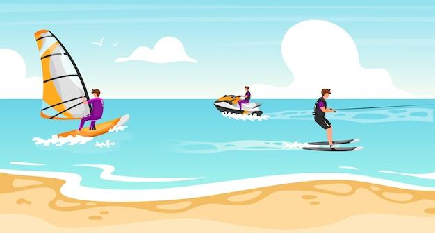 Illustrazione piatta di sport acquatici. windsurf, esperienza di sci nautico. sportivo su scooter d'acqua stile di vita all'aperto attivo. costa tropicale, paesaggio marino turchese. personaggi dei cartoni animati di atleti Vettore Premium