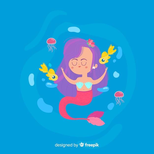 Illustrazione piatta di una sirena Vettore gratuito