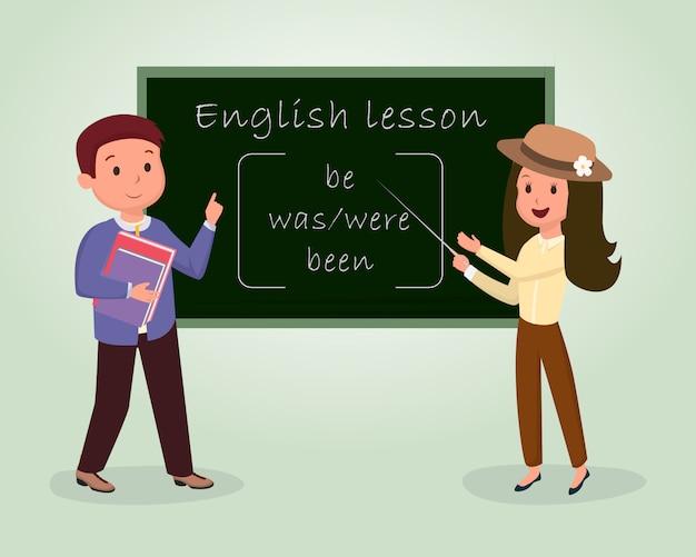 Illustrazione piatta lezione di inglese. corso di lingua straniera, clipart isolato corso di grammatica Vettore Premium