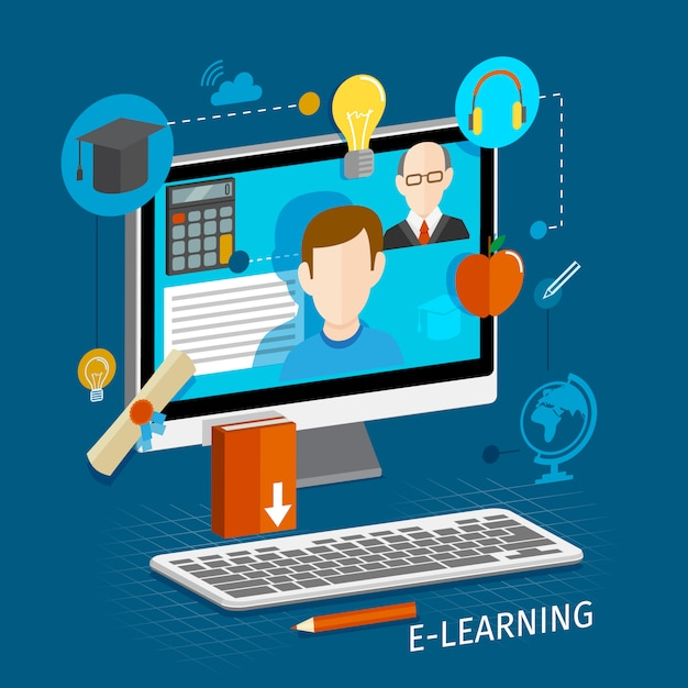 Illustrazione piatta online di e-learning Vettore gratuito