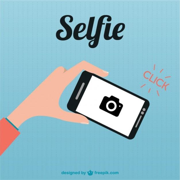 Illustrazione piatta smartphone selfie Vettore gratuito